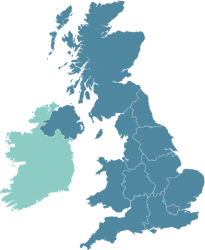 A map of the UK and Ireland